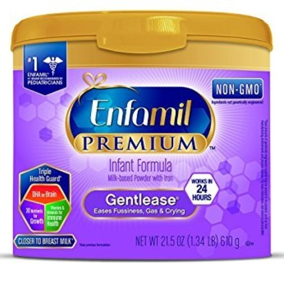 Enfamil PREMIUM Non-GMO Gentlease Infant Formula, Powder, 21.5 Ounce Reusable Tub - 2 Pack