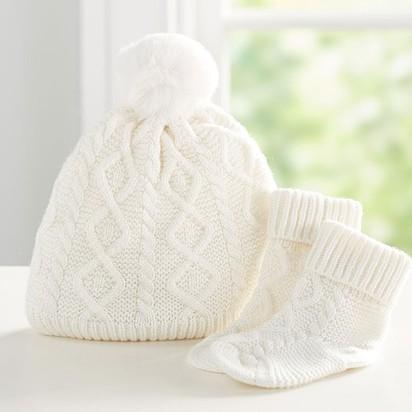 Monique Lhuillier Cable Knit Pom Pom Hat & Bootie Set - 0-3 months, Ivory