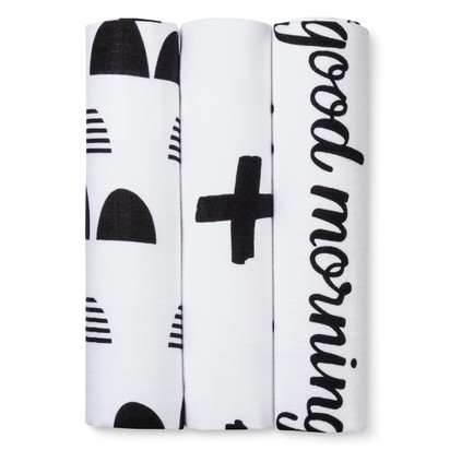 Muslin Swaddle Blankets Good Morning/Good Night 3pk - Cloud Island™ - Black/White
