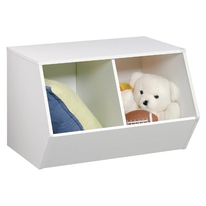 Stackable Laminate 2-Compartment Bin White - Pillowfort™