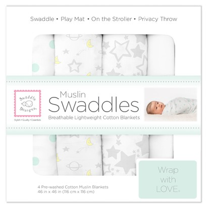 SwaddleDesigns® Cotton Muslin Swaddle Blankets - Goodnight Starshine - 4pk - Sterling Gray