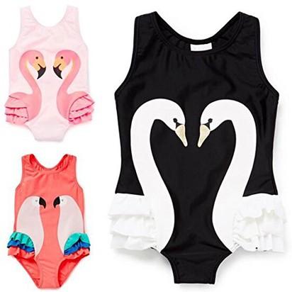 488fea32cf2df Amazon.com: Zmdnys Girls' Swimwear with Cap Swan Sports Bodysuit Beachwear:  Clothing