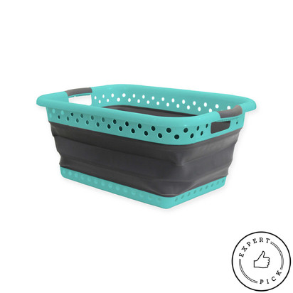 Collapsible Laundry Basket - Pool Blue