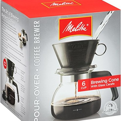 Melitta Coffee Maker, 6 Cup Pour-Over Brewer with Glass Carafe