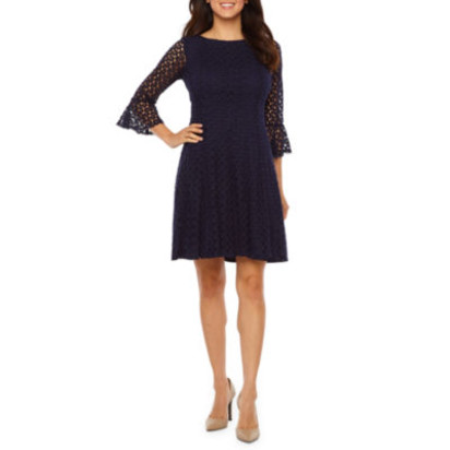 b81b2ee9 Rabbit Rabbit Rabbit Design Elbow Sleeve Lace Fit & Flare Dress JCPenney