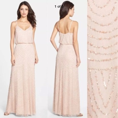 c63b426628a4 New Adrianna Papell beaded blouson gown in blush