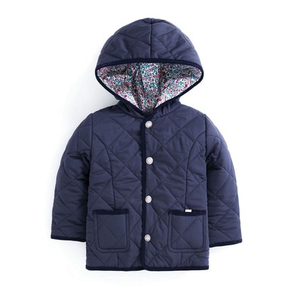 Girls' Navy & Floral Reversible Quilted Jacket - 12-18 months