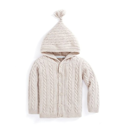 Hooded Cable Knit Cardigan - Natural, 0-3 months