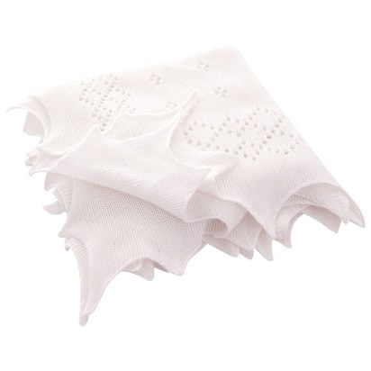 Traditional White Newborn Receiving Shawl