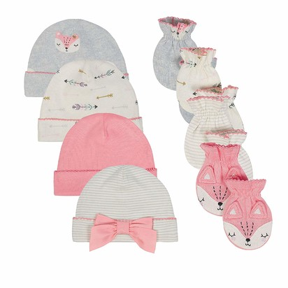 Just Born Baby Girls' 8-Piece Cap and Mitten Bundle - Newborn
