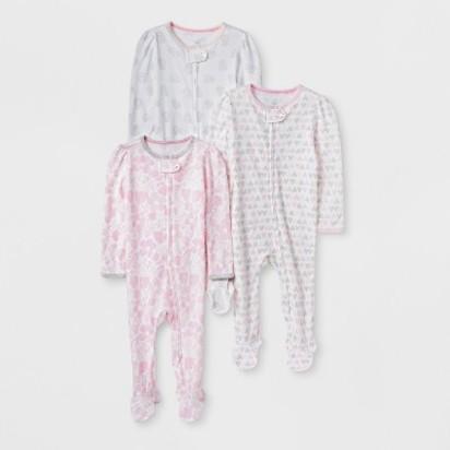 e3a1880f7 Baby Girls' 3pk Print Zip Sleep 'N Play - Cloud Island™ Pink/